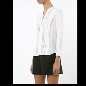 NEW! REBECCA TAYLOR white top with lace sz 4